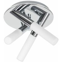 IP44 3 Way Cross Over Chrome Flush Ceiling Light Fitting + Frosted Glass Shades
