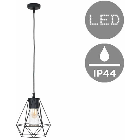 Ip44 Black Bathroom Ceiling Light Pendant + Metal & Clear Glass Shade + 4W LED Filament Amber Light Bulb - Warm White - Black