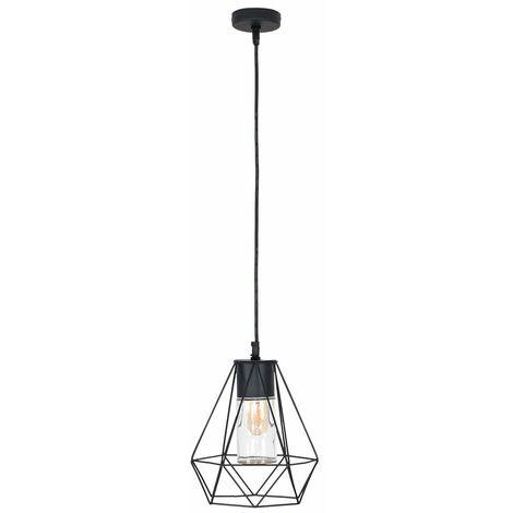 IP44 Black Bathroom Ceiling Light Pendant Metal Open & Clear Glass Shade - Add LED Bulb