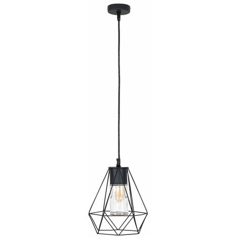IP44 Black Bathroom Ceiling Light Pendant Metal Open & Clear Glass Shade - Add LED Bulb - Black