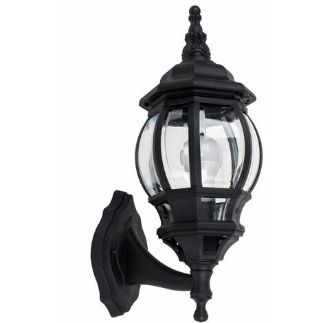 Ip44 Black & Clear Outdoor Security Wall Light + 4W LED Candle Bulb - Warm White - Black
