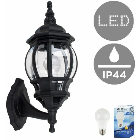 Ip44 Black & Clear Outdoor Security Wall Light + 6W LED Gls Bulb - Warm White - Black