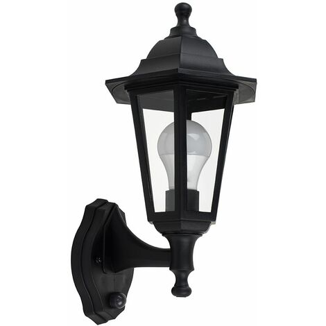 Ip44 Black Outdoor Security Dusk To Dawn Wall Light + 6W LED Gls Bulb - Warm White - Black