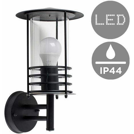 Ip44 Black Stainless Steel Metal & Clear Glass Outdoor Wall Light + 6W LED Gls Bulb - Warm White - Black