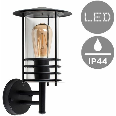 Ip44 Black Stainless Steel Metal Outdoor Wall Light + 4W LED Filament Bulb - Warm White - Black