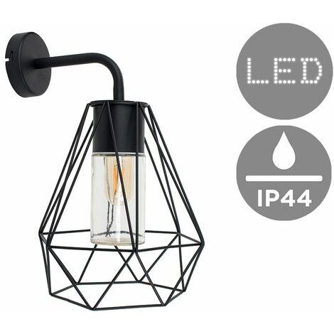 Ip44 Black Wall Light + Black Metal & Clear Glass Shade + 4W LED Filament Light Bulb - Warm White