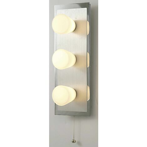 IP44 Cone wall light with pull switch 3 bulbs polished chrome & Aluminum / opal glass