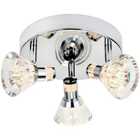 IP44 DIMMABLE 3 LIGHT LED SPOT ROUND PLATE, CHROME, CLEAR ACRYLIC SHADE