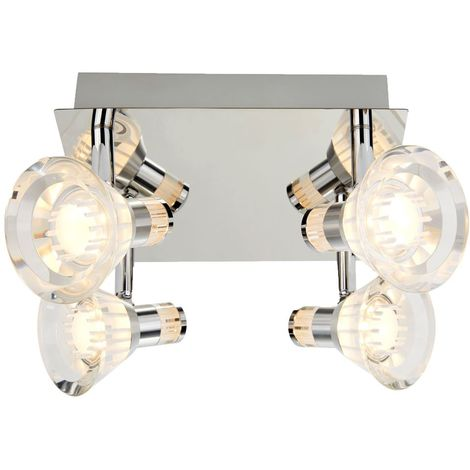 IP44 DIMMABLE 4 LIGHT LED SPOTS SQUARE PLATE, CHROME, CLEAR ACRYLIC SHADE