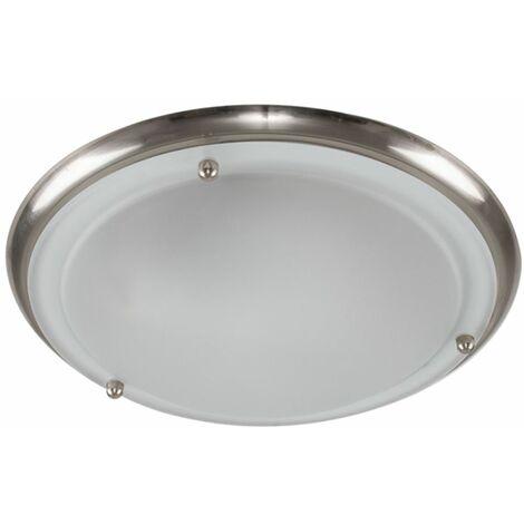 IP44 Flush Bathroom Ceiling Light + 4W Warm White LED Candle Bulb - Brushed Chrome - Silver