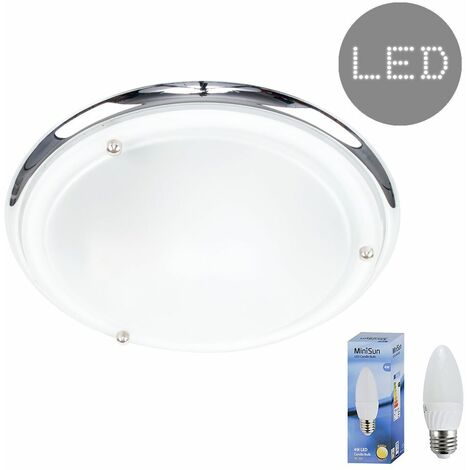 IP44 Flush Bathroom Ceiling Light + 4W Warm White LED Candle Bulb - Chrome - Silver