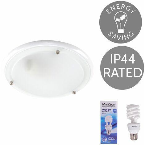 IP44 Glass Flush Bathroom Ceiling Light + 13W ES E27 Bulb - Gloss White