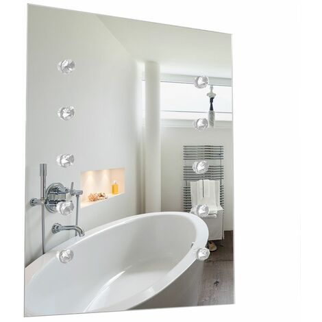 IP44 LED Battery Operated Illuminating Rectangular + K5 Crystal Accent Detail Bathroom Mirror