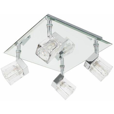 Ip44 Mirror Glass Ice Cube 4 Way Square Bathroom Ceiling Light Spotlight - Silver