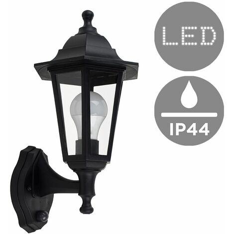 IP44 Outdoor Wall Lantern With Dusk Till Dawn Sensor + Warm White LED - Black Silver