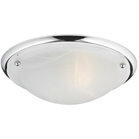 IP44 Polished Chrome & Alabaster Glass Bathroom Ceiling Light by Happy Homewares