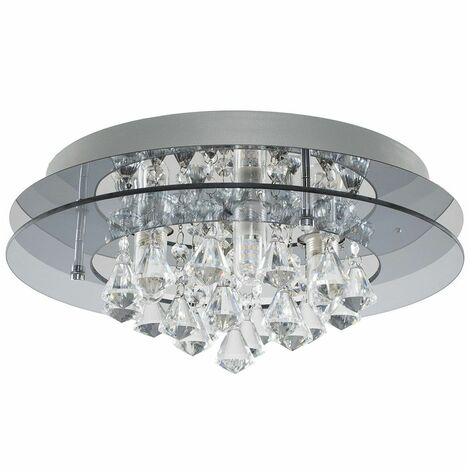 IP44 Rated 2 Tier Halo Glass K5 Crystal Droplet Jewel Bathroom Ceiling Light - No Bulb - Clear