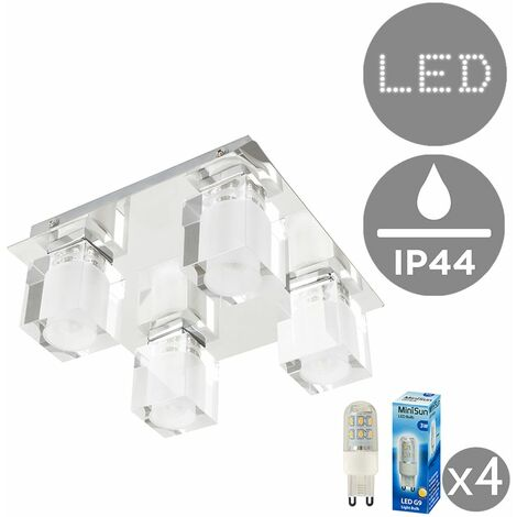 IP44 Rated 4 Way Glass Ice Cube Ceiling Light + 3W LED G9 Bulbs