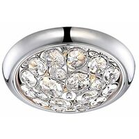 IP44 Rated Brushed Chrome K5 Crystal Jewel Integrated LED Flush Ceiling Bathroom Light - 6500K Cool White