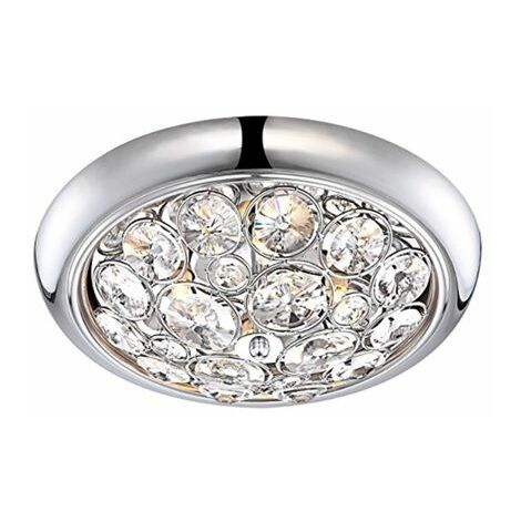 IP44 Rated Brushed Chrome K5 Crystal Jewel Integrated LED Flush Ceiling Bathroom Light - Cool White