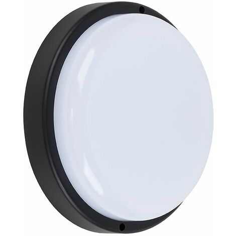 Ip44 Rated LED Black Round Outdoor Garden Security Bulkhead Wall Light - 4000K Neutral White