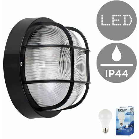 IP44 Rated Outdoor Garden Security Round Bulkhead Wall Light + 10W LED GLS Bulb - Black - Black