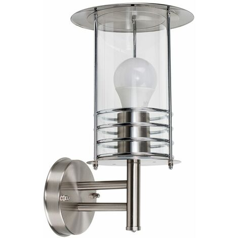 IP44 Rated Stainless Steel Metal Fisherman'S Lantern Cage Outdoor Wall Light - Silver - Silver
