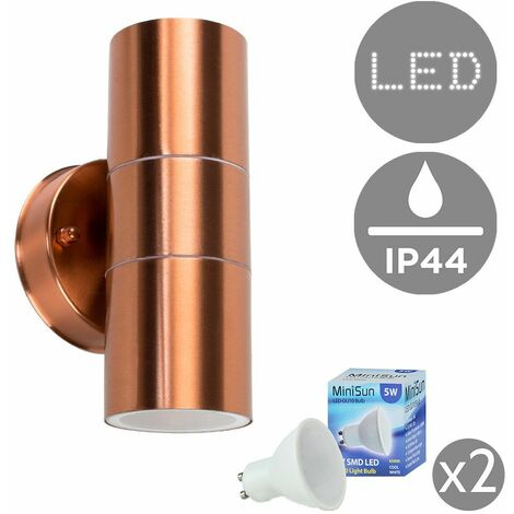 IP44 Rated Stainless Steel Outdoor Up/Down Garage Patio Driveway Security Wall Mounted Exterior Light + LED GU10 Bulbs