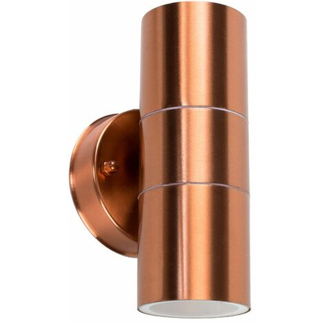 IP44 Rated Stainless Steel Outdoor Up/Down Security Wall Mounted Exterior Light + LED GU10 Bulbs