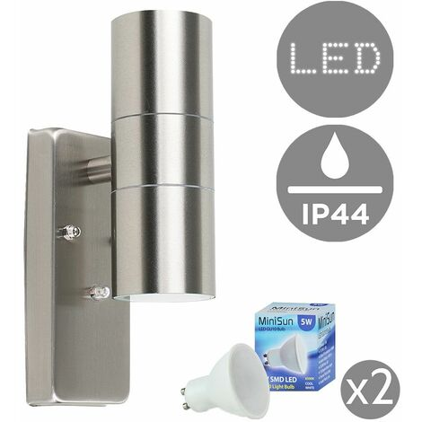 IP44 Rated Up/Down Outdoor Security Wall Light + 5W GU10 LED Bulbs