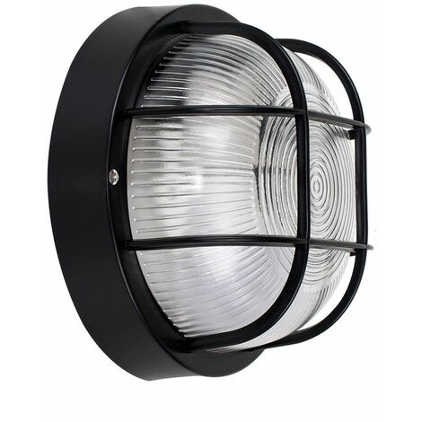 Ip44 Round Black Outdoor Garden Security Bulkhead Wall Light Lights New - Black