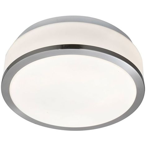 Ip44 Satin Silver 2 Light Flush Fittings With Opal Glass Shade (pack Of 10)