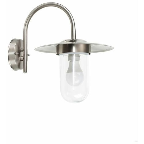 Ip44 Silver Stainless Steel Metal & Glassoutdoor Wall Light + 4W LED Candle Bulb - Warm White - Silver
