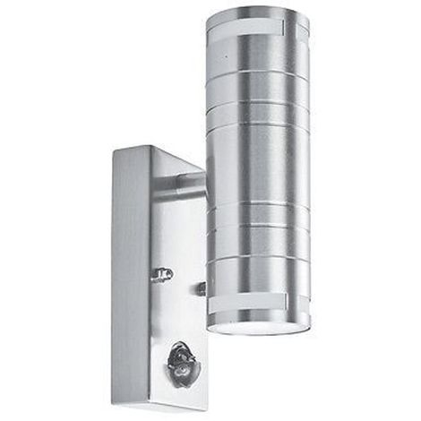 Ip44 Stainless Steel 2 Light Outdoor Wall Light With Motion Sensor