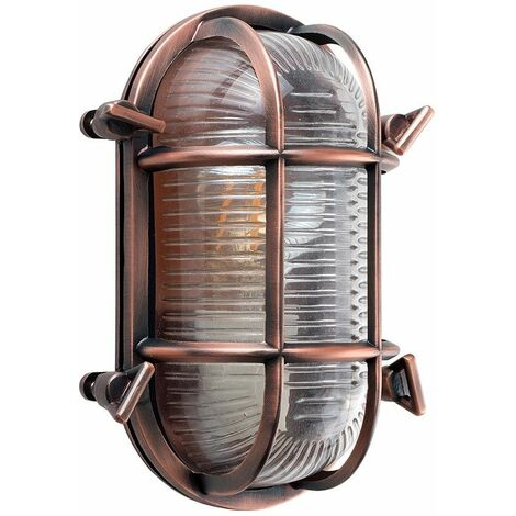 Ip64 Rated Cross-Cased Metal Outdoor LED Bulkhead Wall Light - Copper - Copper