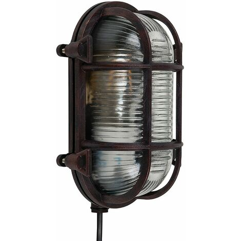 Ip64 Rated Cross-Cased Outdoor Bulkhead Wall Light 4W LED Filament Light Bulb Warm White - Brown