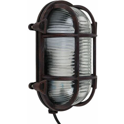 Ip64 Rated Oval Rust Nautical Frosted Lens Cross-Cased Metal Outdoor Bulkhead Wall Light - Warm White LED - Brown