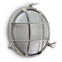 IP66 Round Brushed Chrome Frosted Lens Aluminium Metal Outdoor Wall Light