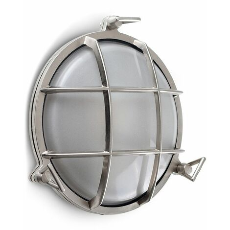 Ip66 Round Brushed Chrome Frosted Lens Outdoor Wall Light + 10W LED Gls Bulb - Cool White - Silver