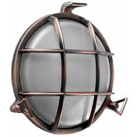 IP66 Round Metal Bronzed Copper Frosted Lens Outdoor Wall Light