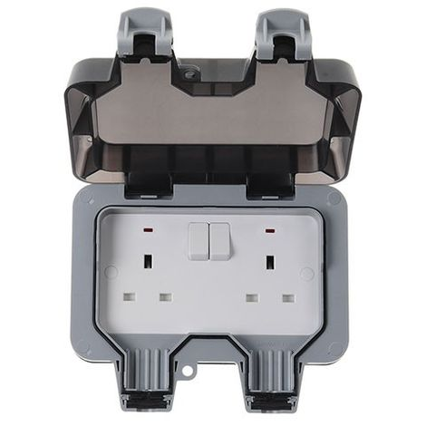 IP66 Weatherproof 13A Double Plug Socket, Switched, Grey