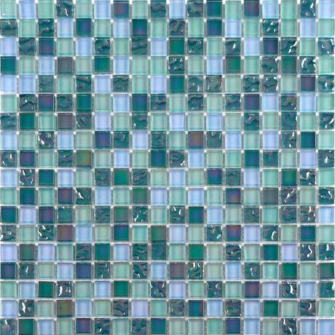 Iradescent Glass Mosaic Wall Tiles Bathroom Lusterous Green Blue MT0097