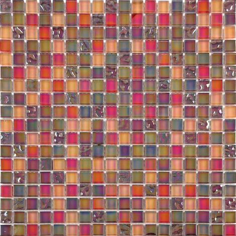Iradescent Glass Mosaic Wall Tiles Bathroom Lusterous Red Orange MT0099