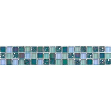 Iradescent Glass Mosaic Wall Tiles Border Strips Lusterous Blue Green Mix MB0097