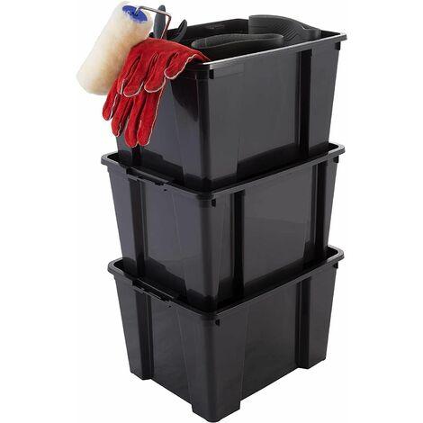 Iris Ohyama. Lot de 3 boîtes / bacs de rangement empilables pour articles de bricolage - Hobby Box - HB-15. plastique. noir. 15 L. 35 x 26.3 x 22 cm