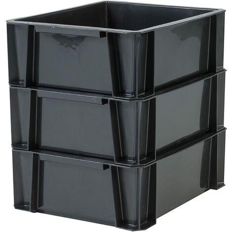 Iris Ohyama. set - 3 bacs de rangement - Stacking Box - STB-LD. plastique. noir. 36 L. 55 x 35 x 24.5 cm