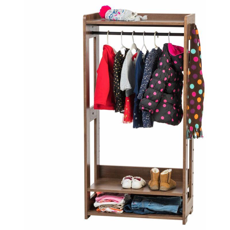 Iris Ohyama,Portant/Penderie à vêtements / Porte-manteaux pour enfants multifonctionnel avec étagères de rangement et crochets - Kids Garment Rack