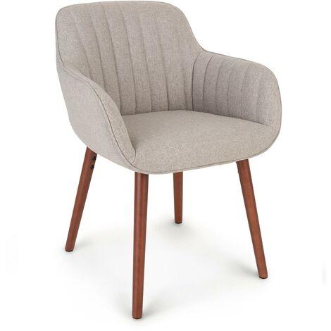 Iris Upholstered Chair Foam Upholstery Polyester Wood Legs Grey Flecked