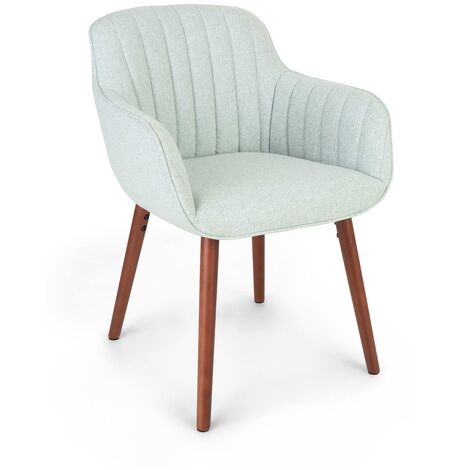 Iris Upholstered Chair Foam Upholstery Polyester Wood Legs Light Green