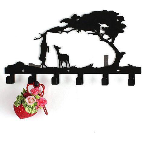 Iron Coat Hanger - Sturdy wall hanger with 6 metal hooks - Designer wall mount for bags, jackets, coats, hats, home decor